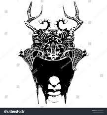 Demon Horn Designs Devil Head Big Demon Horns Gargoyle Stock Vector Royalty