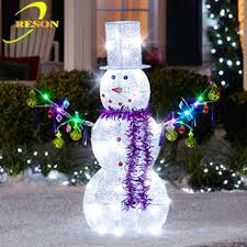 outdoor decoration lighted metal snowman light up decorations