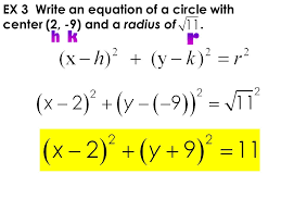 ex 3 write an equation of a circle with center 2 9