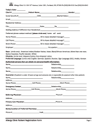 Fillable Online Patient Registration Forms Allergy Clinic