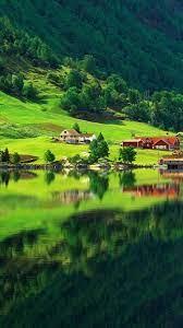 🥇 Mountain village reflection wallpaper ...