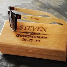 engraved groomsmen sunglasses with wooden box