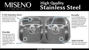 miseno mno163620f 16 gauge stainless steel farmhouse 36 single basin stainless steel kitchen sink with a front drain assembly and fitted basin rack