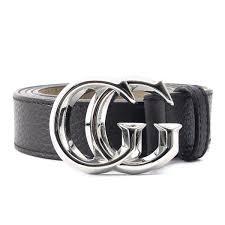 gucci gucci gg buckle leather belt dark brown 95 38