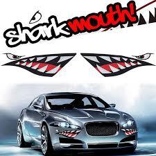 2Pcs 38x13cm Car Auto Vehicle Shark Teeth <b>Mouth High Quality</b> ...