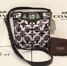 Coach Madison 43316 Signature Op Art Chainlink Crossbody Swingpack