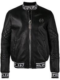 philipp plein logo printed leather jacket