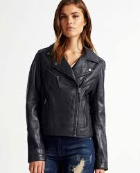 more views women er leather jacket in navy blue ro