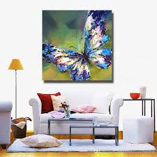 high quality canvas art pictures blue butterfly oil painting for bedroom decoration hand painted oil painting  on wall art bedroom decor with 2018 high quality canvas art pictures blue butterfly oil painting