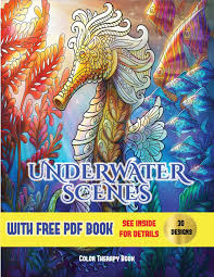 Free Coloring Book Design Software Amazon Com Color Therapy Book Underwater Scenes An Adult