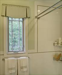 exciting double curtain rods with roman blinds and towel bar for small bathroom design