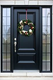 black front doors with glass side panels wood and