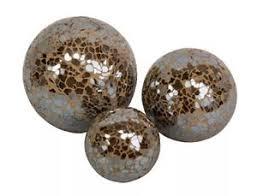 Decorative Balls Next 60 x TAUPE COPPER BROWN CRACKLE MOSAIC GLASS DECORATIVE BALLS Next 9