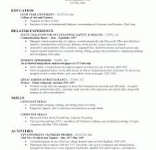 Resume Undergraduate Resume Template College Student Grad Examples New Sample Samples No 35