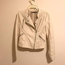 dotti cream faux leather jacket size 8 women s fashion clothes on carou
