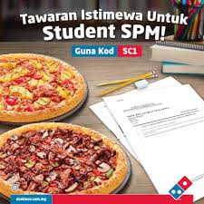 dominos pizza 1 free 1 large pizza voucher code for spm students