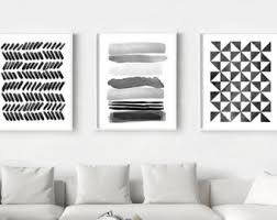 abstract watercolor prints set of 3 geometric wall art stripes triangles brushstrokes dots minimalist art black white wall art home decor on wall art black and white photography with black white painting etsy