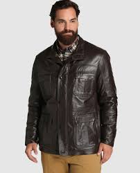 dustin big and tall men s brown leather three quarter coat