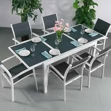 6 seater modern aluminium glass top white grey extending garden furniture outdoor dining table set 3