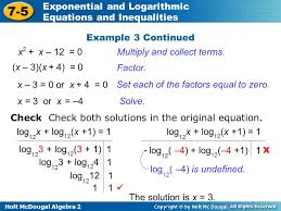 holt mcdougal algebra 2 7 5 exponential and logarithmic equations and inequalities example 3 continued