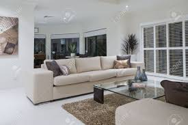 Living Room With Dining Table Luxurious Living Room With Dining Table In The Background Stock