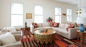 coffee tables boho scheme color living space white velvet microfiber sectional sofa with multi color pillows