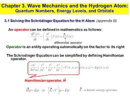 wave mechanics and the hydrogen atom quantum numbers energy levels