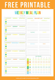 weekly menue planner free printable weekly meal planner printable crush