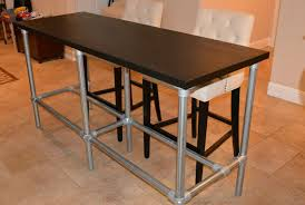diy counter height table with pipe legs bar height console bar height console table ikea