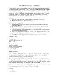 Folow Up Letter Business Followup Letter After Interview Templates At