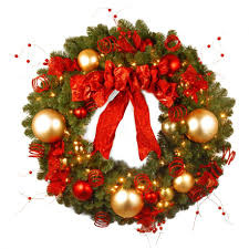 awesome image of accessories for decoration using round gold baubles red berry artificial large outdoor lighted wreath