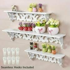 white floating shelves set oval shelf