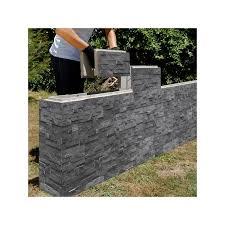 stack stone finish on a diy retaining wall block for garden walls blocks