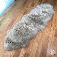 surging genuine sheepskin rug light grey double