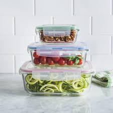 ksp clip it glass storage container rect set of 6 multi colour