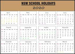 School Calendar Templates Nsw 2020 School Holidays Calendar Template New South Wales