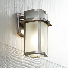 brushed nickel frosted glass 11 1 4 high outdoor wall light wall porch lights com