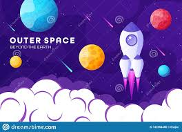 Night Sky Id Charts Space Futuristic Modern Colorful Background With Rocket