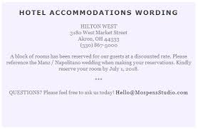 how to word hotel accommodations for wedding invitations sample card for hotel room block invite our happily ever after