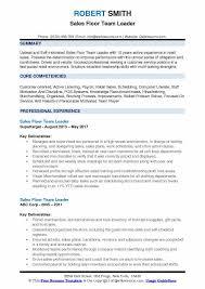 Team Leader Resume Examples Sales Floor Team Leader Resume Samples Qwikresume