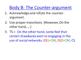 social networking essay feedback ppt video online  body b the counter argument