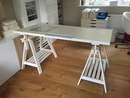 ikea adjule desk with lightbox and trestles