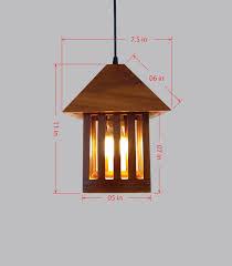 Gravity Wood Pendant Light Hut Shaped Modern Chandelier Lighting 021