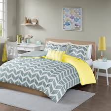 intelligent design ella yellow grey 5 piece duvet cover set free on orders over 45 com 16662804
