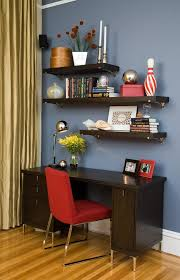 home office wall shelving. Floating Wall Shelves Decorating Ideas Home Office Contemporary With Red Chair Designers San Francisco Shelving E