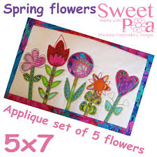 Machine Applique Designs Machine Embroidery Projects Spring Flower Appliques
