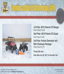 vermilion minor hockey association website by ramp interactive there will be 1200 tickets available to be on the following raffle prizes