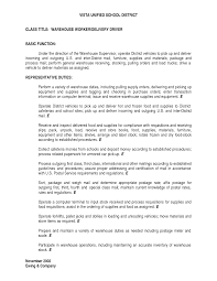 Warehouse Worker Job Description Resume Warehouse Worker Job