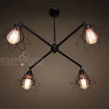 industrial lighting for the home. 4 Lights Cage Chandelier Lighting Industrial For The Home D