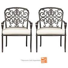 hampton bay edington cast back pair of patio dining chairs with cushions included choose your
